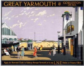 Great Yarmouth & Gorleston on Sea, Norfolk. Vintage LNER Travel poster by Henry George Gawthorn